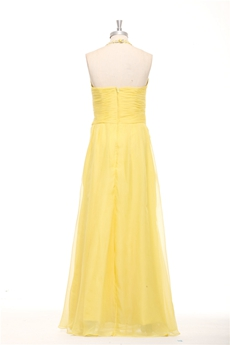 Delicate Halter A-line Yellow Chiffon Evening Dress Front Slit