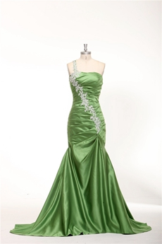 One Shoulder Sheath Floor Length Green Prom Dress With Lace Appliques