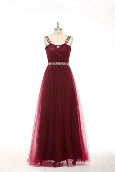 Double Straps A-line Tulle Burgundy Junior Prom Dress