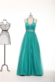 Top Halter A-line Tulle Fabric Teal Prom Dress With Rhinestones