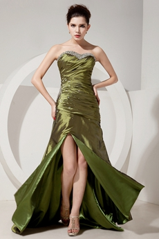 Special Sweetheart Military Green Taffeta Junior Prom Dress With Jacket