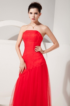 Qualified Strapless Full Length Red Tulle Mother Of The Bride Dress With Sheer Bolero