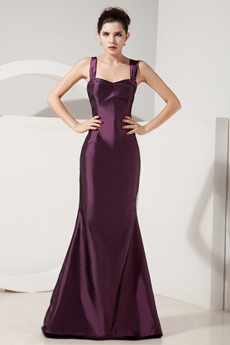 Charming Straps Sheath Floor Length Grape Colored Mother Of The Bride Dress With Jacket