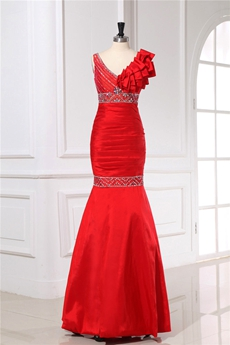 V-Neckline Trumpet/Mermaid Red Evening Dress