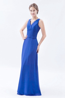 Simple V-Neckline Column Full Length Royal Blue Bridesmaid Dress