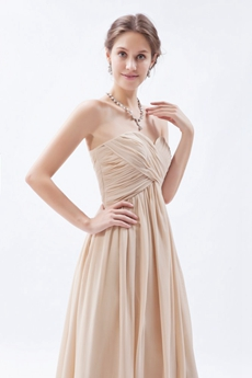 Simple Ankle Length Champagne Graduation Dress For High School