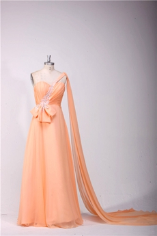 Stunning One Shoulder A-line Coral Evening Dress With Ribbons