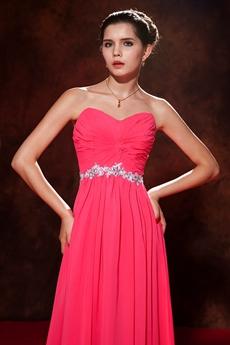 Shimmering Sweetheart Hot Pink Chiffon Bridesmaid Dress
