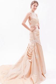 Open Back Halter Champagne Taffeta Wedding Dress 2016