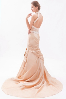 Open Back Halter Champagne Taffeta Wedding Dress 2016