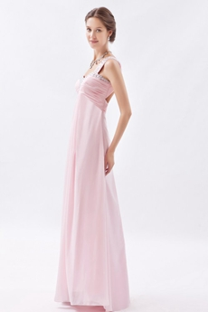 Noble One Straps Empire Chiffon Pearl Pink Maternity Evening Dress