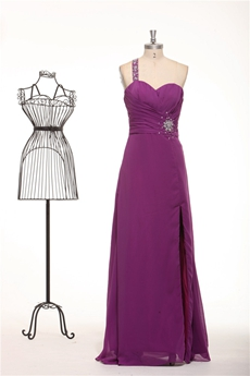 One Straps Column Full Length Plum Colored Evening Dress