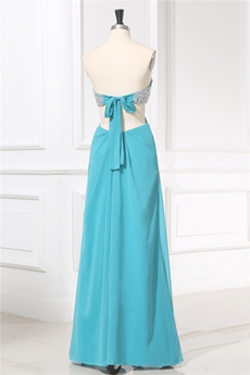 Sexy Sweetheart Open Back Blue Informal Evening Gown