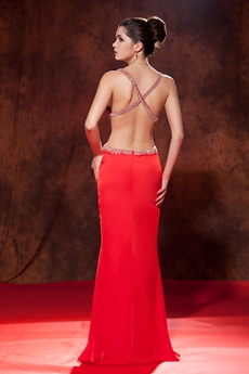 Sexy Crossed Straps Back Sheath Full Length Red Evening Gown