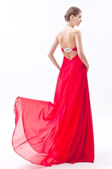 Dippled Neckline Empire Full Length Red Chiffon Maternity Prom Dress