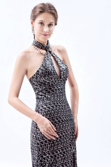 Modern Halter A-line Special Evening Dress High Slit