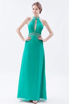 Modern Halter High Collar Chiffon Jade Green Evening Dress