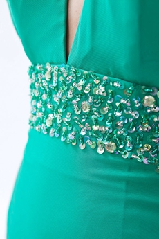 Modern Halter High Collar Chiffon Jade Green Evening Dress