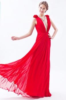 Hot Deep V-Neckline A-line Red Chiffon Informal Evening Dress
