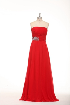 Strapless A-line Red Chiffon Long Prom Dress