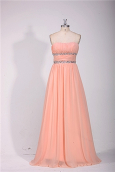 Dipped Neckline Chiffon Coral Prom Dress With Great Handwork
