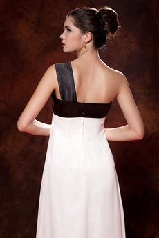 Simple One Shoulder White And Black Maternity Prom Dress