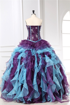 Inexpensive Colorful Eggplant & Blue Sweet 15 Dresses With Ruffled Skirt