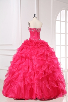Best Fuchsia Organza Strapless Ball Gown for Sweet 15