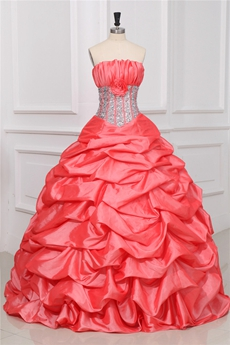 Charming Coral Strapless Ball Gown Sweet 15 Dresses