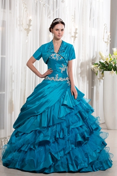 Classy Sweetheart Neckline Ball Gown Turquoise Taffeta Quinceanera Dress 2016