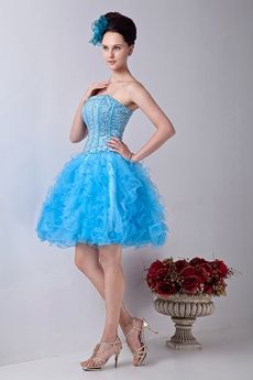 brilliant Mini Length Blue Tulle Tutu Sweet Sixteen Dress