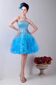 brilliant Mini Length Blue Tulle Tutu Sweet Sixteen Dress