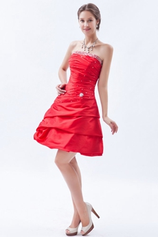 Sassy Strapless A-line Mini Length Red Taffeta Sweet Sixteen Dress