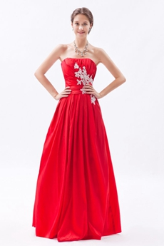 Cute Strapless Red Taffeta Junior Prom Dress