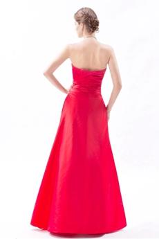 Cute Strapless Red Taffeta Junior Prom Dress