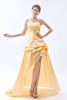 Strapless Yellow Taffeta High Low Prom Dress
