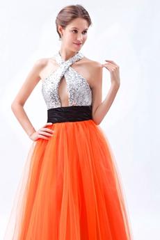 Modern Halter Silver & Orange Princess Quinceanera Dress With Black Sash