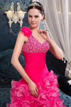 Fashionable One Shoulder A-line Ruffled Colorful High Low Sweet Sixteen Dress