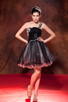 Breathtaking One Shoulder Mini Length Black Sweet Sixteen Dress