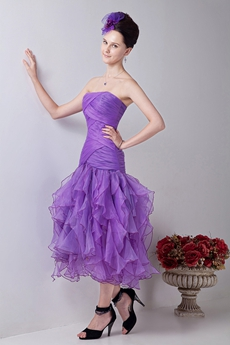 lovely Multi Layered Organza Tea Length Sweet Sixteen Dress