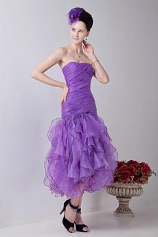 lovely Multi Layered Organza Tea Length Sweet Sixteen Dress