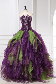 Unique Colorful Purple And Green Quinceanera Dresses