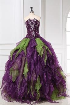 Unique Colorful Purple And Green Quinceanera Dresses