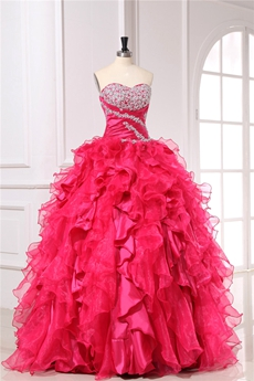 Modern Sweetheart Fuchsia Quinceanera Dresses