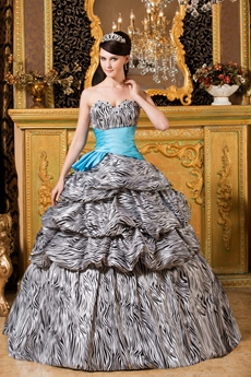 Unique Sweetheart Neckline Ball Gown Floor Length Zebra Quinceanera Dress