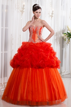 Special Shallow Sweetheart Ball Gown Full Length Burnt Orange Quinceanera Dress With Beaded Bodice