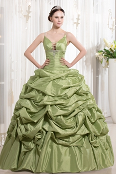Customer Made Spaghetti Straps Ball Gown Full Length Sage Taffeta Quinceanera Dress