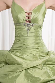 Customer Made Spaghetti Straps Ball Gown Full Length Sage Taffeta Quinceanera Dress