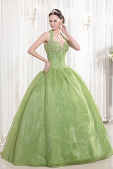 Beautiful Olive Halter Quince Gown Dress With Great Handwork