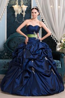 Stunning Ball Gown Full Length Dark Royal Blue Taffeta Quinceanera Dress With Lime Green Sash